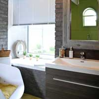 trendy bathroom in Brittany cottage