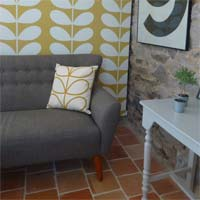 Orla Kiely wallpaper in Rose cottage Brittany
