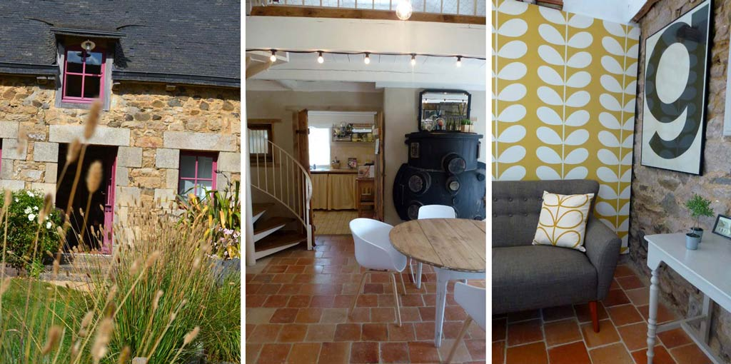 wonderfully cosy sofa and Orla Kiely wallpaper in this self catering home in brittany
