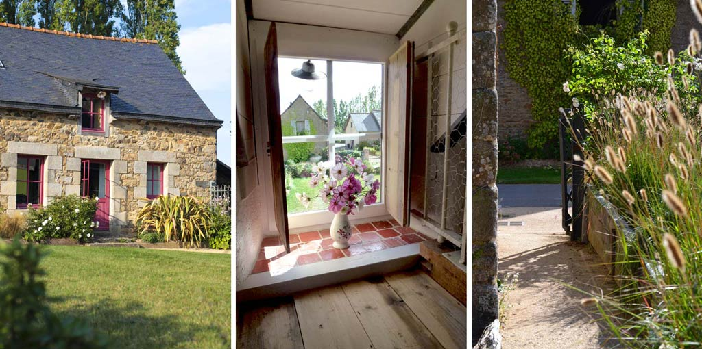 pink romantic cottage and gardens in Brittany